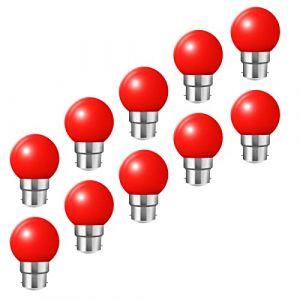 Ampoules baïonnette B22 - Paquet de 10 ampoule LED Feston 2 W (équivalent 20W), ampoule écoénergétique écoénergétique colorée rouge, petites ampoules de Noël BC Cap (HUAMu, neuf)
