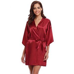 Aibrou Peignoir Satin Femme Robe de Chambre Kimono Femmes Sortie de Bain Nuisette Déshabillé Couleur Pure Vêtements de Nuit pour la Fête Mariage (XXL: épaule 67cm, Buste 134cm, Vin Rouge) (Aibrou Direct, neuf)