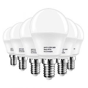 LAKES ampoule LED E14 Petit culot à vis, balle de golf P45 ampoule, 5W (équivalent ampoule à incandescence de 40 W), blanc chaud 3000 K, 6-pack, plastique, Blanch chaud (3000k), plastique (Lightone Direct-Euro, neuf)
