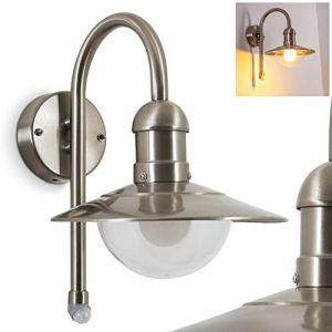 Applique extérieure Klima en métal argenté, lanterne rétro classique avec détecteur de mouvement, idéale pour une entrée ou un balcon, IP44, pour 1 ampoule E27 max. 60 Watt, compatible LED (hofstein, neuf)