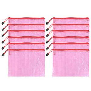 12pcs Chemise Paquet Portefeuille Pochette en PVC Zip Document Dossier/PVC School Office A5 Magazine Document File Zippy Closure Folder Holder Bag A5- A5-Rouge (MMY1980, neuf)
