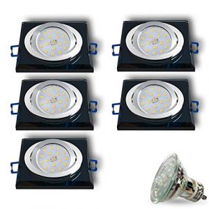 CRISTAL-S Spot LED encastrable en verre/miroir/noir avec 5 LED 4 W Blanc froid 230 V IP20 Spot de plafond encastrable (JVS-Germany, neuf)