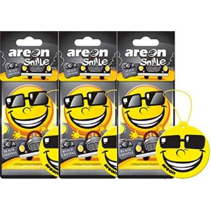 AREON Smiley Désodorisant Voiture Cristal Noir Rétroviseur Drôle Fun Rigolo Suspendu Jaune Maison (Black Crystal Lot de 3) (BN Direct Supply, neuf)