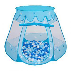 Selonis Tente Château avec Les Balles Plastiques Piscine À Balles pour Enfants, Bleu: Babyblue-Bleu-Perle,105X90cm/200 Balles (OtherEden &  DUmalDU, neuf)