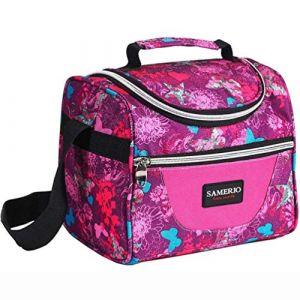SAMERIO Enfants Sac Isotherme Réutilisable Lunch Tote isolé Lunch Box pour Les Fille Femme Sac Isotherme Repas Portable avec bandoulière réglable pour Voyage Camping Pique-Nique Travail Boulot (Rose) (Aaflying, neuf)
