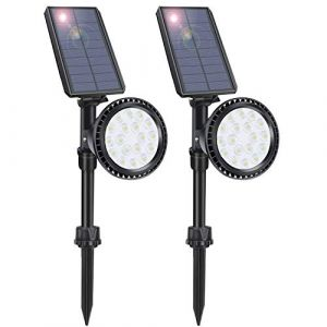 LITSPOT spot exterieur solaire, pack de 2 projecteurs solaires à 18 LED, lampe jardin exterieur solaire pour jardin, allée pavillon pôle piscine passerelle (MF Network Tech, neuf)