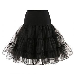 DAY8 Jupe Femme Hiver Taille Haute Jupon Rockabilly Femme Mi Longue Petticoat Jupe Tulle Femme Grande Taille Automne Ballet de Tutu de Fille Style Jupon Femme Robe Vintage Année 50 (XL, Noir) (DAY8, neuf)