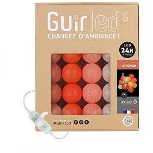 Guirlande lumineuse boules coton LED USB - Veilleuse bébé 2h - Adaptateur secteur double USB 2A inclus - 3 intensités - 24 boules 4m - Ottoman (Lighting Arena, neuf)