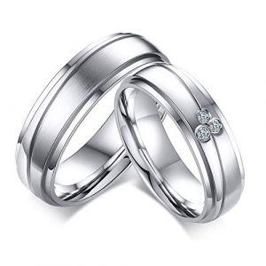 Aruie Bague Anneau pour Homme en Acier Inoxydable avec Ligne Rainure Couple Alliance Fiançaille Mariage Bijoux Argent #62 (Aruie, neuf)