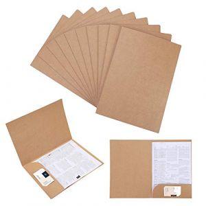 Lot de 10 Chemise Cartonnée avec Rabat A4 Sous-Chemises en Papier Kraft Dossier de Fichiers à Insertion Porte Document Organisateur Stockage Chemises de Presentation Contrat Rapports (IBlueloveruk, neuf)