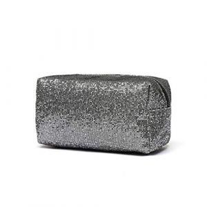 Le sac cosmétique de paillette, rouge à lèvres de stockage léger de sac de maquillage carré a vernis à ongles extérieur pour des dames des femmes des femmes Argent (LaVibe, neuf)