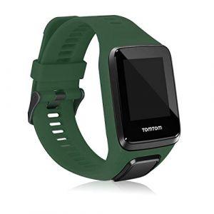 kwmobile Bracelet Compatible avec Tomtom Adventurer/Runner 3/Spark 3/Golfer 2 - Bracelet de Rechange en Silicone pour Fitness Tracker Vert foncé (KW-Commerce, neuf)