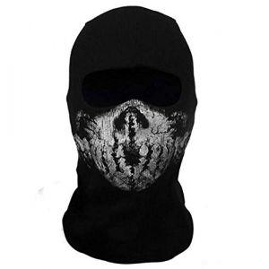 Black Sugar mixte Ghost - Tete de Mort Cagoule noire crâne de mort Masque intégral coupe-vent Résistant à la poussière Vélo Moto Masque motard Halloween Cosplay Party Cyclisme Randonnée Ski (Modèle F) (BLACK SUGAR PARIS, neuf)