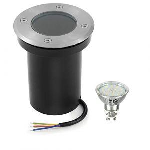 Bojim Spot Exterieur Led Etanche IP67, Spot Encastrable Exterieur Ampoule GU10 6W 220V 2800K Blanc Chaud, Spot Terrasse Exterieur Encastrable Rond pour Jardin Chemin Parc Cour, Acier inoxydable (YangjuTian, neuf)