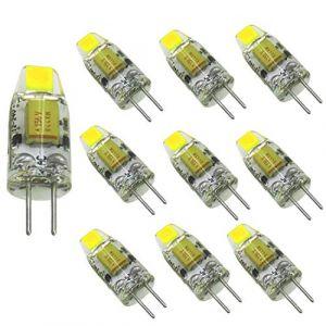 Aiyowei Lot de 10pcs, Bi-pin Mini ampoule LED G412V-24V DC 1W 100Lumen COB 0705SMD Silicone lampe Lustre Combinaison Cristal Transparent lampe de lecture Blanc 6000K-6500K (AIYOWEI, neuf)