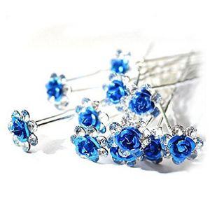 Accessoires cheveux coiffure mariage 1 lot de 5 épingles à chignon fleur à strass bleu roi (CLUB MODE, neuf)