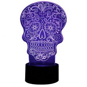 Lampe de bureau 3D d'illusion optique en forme de tête de mort - 7couleurs changeantes - Bouton tactile - USB - Veilleuse - Produit des effets de lumière uniques - Sculpture lumineuse, Acrylique, Art Flower Skull, 7.4*5.7inch (Karen Secret Gardern, neuf)