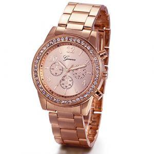 JewelryWe Montre Quartz Homme Femme d'affaire Commercial Décoration Trois Yeux Six Pointeurs Faux Diamant Bling Bling Bracelet Acier Inoxydable Alliage Fantaisie Rose Or (JewelryWe Bijoux, neuf)