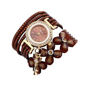 Montre Bracelet Femmes Pas Cher Oyedens Montres Bracelet pour Femme Charme Vintage Weave chaîne Bracelet Femmes Mode Montre-Bracelet Bijoux Cadeaux (Brun) (Oyedens, neuf)