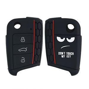 kwmobile Accessoire clé de Voiture pour VW Golf 7 MK7 - Coque pour Clef de Voiture VW Golf 7 MK7 3-Bouton en Silicone Blanc-Noir - Étui de Protection Souple (KW-Commerce, neuf)