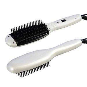 Brosse de défrisage de cheveux vibrante infrarouge de massage, peigne électrique de défrisage démêlant anti-brûlure,Blanc (wuxiaoyu12345, neuf)