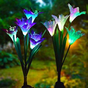 extérieur Lampes solaires de jardin en forme deÂ–Lvyleaf Lot de 2appliques solaires avec 8Lily Fleur Multicolore Changer LED Lampes solaires à piquet pour jardin, terrasse, jardin (Violet et blanc) (Lvyleaf, neuf)