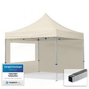 TOOLPORT Tente Pliante 3x3 m - 2 côtés Aluminium Barnum Chapiteau Pliant Tonnelle Stand Paddock Réception Abri PES300 crème (INTENT24, neuf)