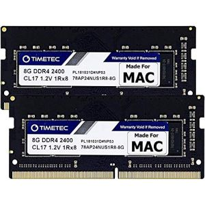 Timetec Hynix IC compatible with Apple 16GB DDR4 2400MHz PC4-19200 SODIMM Memory Upgrade For iMac Retina 4k/5K 21.5-inch/27-inch Mid 2017 16GB(8GBx2) Single Rank (Timetec Inc Europe, neuf)