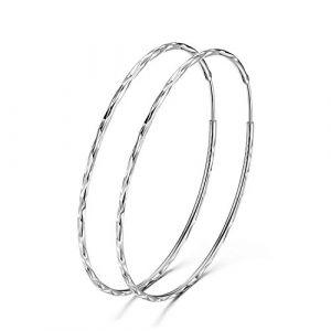 Argent sterling 925Cercle infini Boucles d'oreilles créoles 60mm pour femme fille (GOXO, neuf)