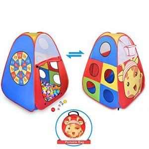 Tente de jeu pour enfants, tente de jeu pop-up pour enfants, tente pour jouer en extérieur et en intérieur avec un panier de basket, une cible à fléchettes et un sac de rangement inclus pour bambins. (ST love, neuf)