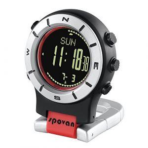 Lixada Smart Watch Altimètre Baromètre Boussole LED Montre Sport Montres Pêche Randonnée Escalade Montre de Poche (Rouge + Noir) (Docerlay, neuf)