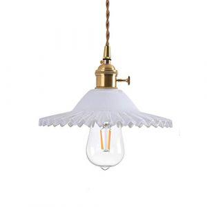 HJXDtech Vintage Industriel E27 Luminaire Suspension Design En Laiton Montage avec abat-jour En Verre Rétro Tressé Flexible Fil De Plafond Suspension Lampe (Blanc) (HJXDtech, neuf)