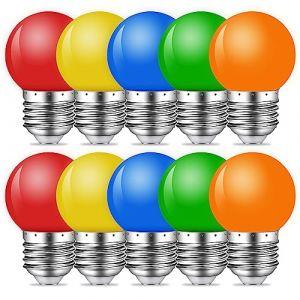 E27 Couleur LED 1W Ampoule Lampe 80 LM économie d'énergie Ampoules Couleur Adapté pour l'éclairage des fêtes, Outdoor Patio Party Christmas-Couleurs mélangées Rouge Vert Bleu Orange Jaune (MZYOYO, neuf)