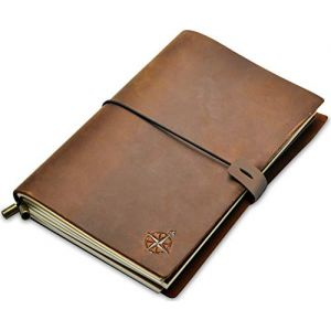 Carnet de Voyage en Cuir - A5 Carnet de Notes, Agenda Cuir Rechargeable, Idéal pour l'Écriture | Journal Intime, Bullet Journal, Utile pour Voyage ou au Travail | Pages Blanches 22cm x 15cm - A5 (Wanderings, neuf)