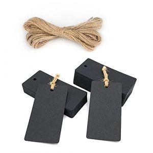 Lot de 100Papier Kraft étiquettes de cadeau, étiquettes, étiquette bagage, Craft, étiquettes de faveurs de mariage de forme rectangulaire en Étiquettes Cadeau avec 100pieds Ficelle en jute noir (JiJia Handmade, neuf)