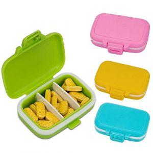 AIEX Pilulier Medicaments Journalier de Voyage Pills Box Boîte à Pilules de 3 Compartiments pour Cachets et Vitamines (4pcs) (Botongyingke, neuf)