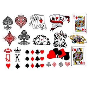 Collection de tatouages ??temporaires Temporary Tattoos collection (Tatouages ??cartes à jouer Playing Cards Tattoos) (Kaz Creations, neuf)