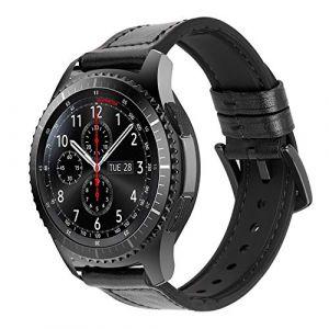 iBazal 22mm Bracelet Cuir Hybride Caoutchouc Compatible Gear S3 Frontier Classic,Galaxy Watch 46mm,Huawei Watch GT/Honor Magic/2 Classic,TicWatch Pro,Amazfit,Pebble,Garmin,Fossil,Moto Hommes - Noir (ibazal, neuf)