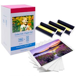 MarkField Papier photo Selphy KP-108IN 3115B001(AA) Color Ink Paper Set Compatible avec Imprimante Canon Selphy CP Series CP1300 CP1200 CP1000, Papier photo 108 feuilles (A6, 100 x 148 mm) (MarkField, neuf)