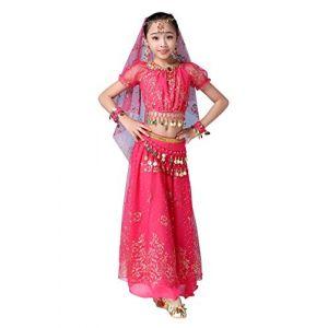 FEOYA Déguisement Orientale Enfant Robe Danse du Ventre Fille Belly Dance Cadeau Noël Déguisement Bollywood Indienne Fille Costume Halloween Enfant Rose Rouge 5-8 Ans (GAOCHENGEU, neuf)