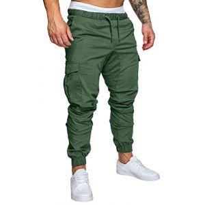 Minetom Homme Pantalons De Sport Running Training Slim Cargo Legging Jogging Fitness Gym Chino Pants Mode Casual Été Automne Vert X-Small (ORANNER EU, neuf)