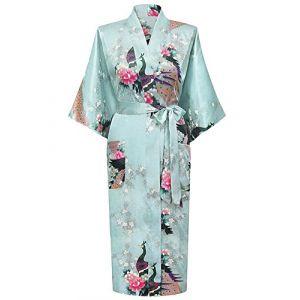 HonourSport?Kimono Japonais en Satin Sexy Robe de Chambre Peignoir?Femme ?Azur?XXXL? (westkun, neuf)