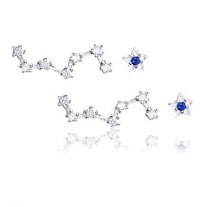 Femme Boucle d'oreille Argent 925 Pentagramme Boucle doreille diamant Boucles d'oreilles Set (SIYWINA Jewelry, neuf)