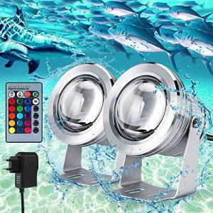 Lot de 2 Projecteur Submersible à LED, 5050 RGB Étanche IP68 Éclairage Sous-marin, Projecteur LED pour Éclairage Extérieur de Jardin avec Télécommande et Cordon D'alimentation 2M DC12V (Doqo-eu, neuf)