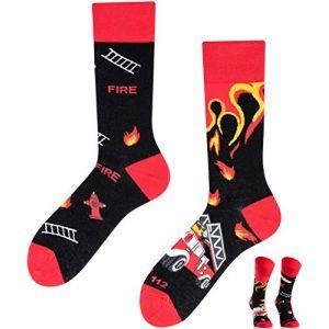TODO COLOURS Chaussettes Mottif - Sapeur pompier - Fantaisie, Humour, Homme, Femme, Chaussettes Couleur - feu, échelle, bouche d'incendie, pompier (35-38, Sapeur pompier) (socks_paradise, neuf)