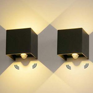 2 Pièces LED Applique Murale Exterieur 12W Avec détecteur de movement 3000K Luminaire Exterieur Murale IP65 Lampe Murale Avec Angle de Faisceau Réglable Up Down Design Intérieure/Extérieure (ezon europe, neuf)