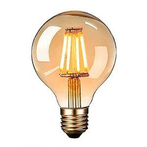 Ampoule Edison LED, massway Ampoule Edison Vintage G80 E27 4W Rétro Filament Ampoule décorative 2700K Blanc Chaud Antique Lampe Ampoule Incandescente, - 1 pièces (Zacocos, neuf)