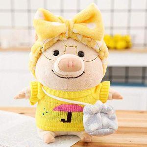 Porcinet en peluche poupée créative mignon cochon poupée Saint Valentin cadeau-jaune parapluie pull_25cm (lizhaowei531045832, neuf)