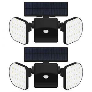 INDARUN 56 LED Lampes Solaires Extérieur Etanche IP65, Spot Solaire avec Détecteur de Mouvement, Lampe de Sécurité Applique Solaire Sans Fil pour Jardin, Garage, Cour, Escalier, Patio, 2 Packs (INDARUN-EU, neuf)