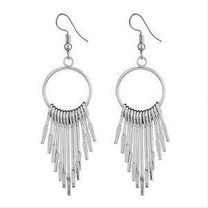 Boucles d'oreille pour les femmes en métal gland boucle d'oreille géométrique style punk moderne boucle d'oreille pour les femmes bijoux accessoiresargent (Graceguoer, neuf)